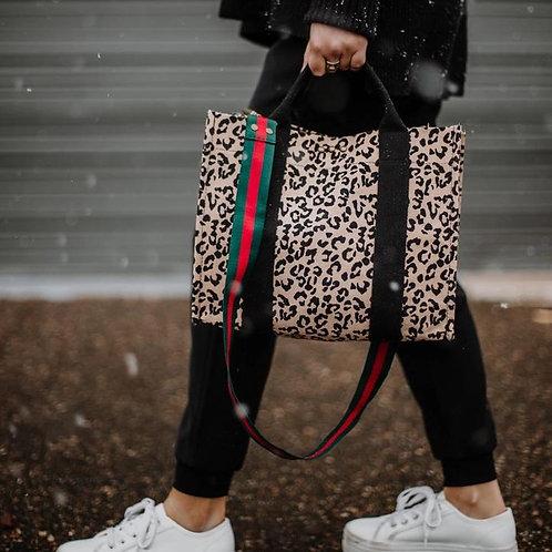 Sofia Leopard Canvas Crossbody Tote