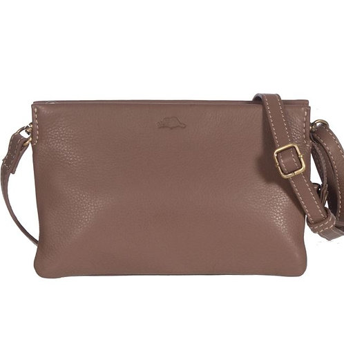 Roots Ladies RFID Double Pouch Crossbody Wallet-Taupe