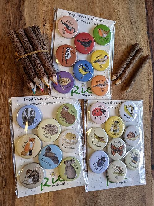 Rie Designed Magnets - British Wildlife, Invertebrates, Garden Birds