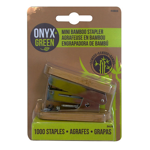 Onyx and Green Mini Bamboo Stapler