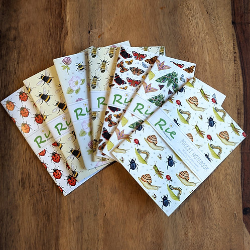 Insects A6 plain recycled notebook - Bees, ladybirds, butterflies