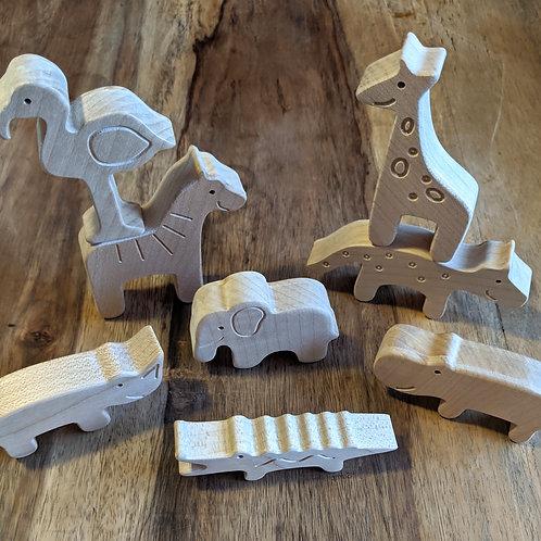Individual Wooden Safari Animals toy - Abaki® toys