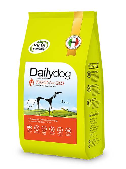 ADULT MEDIUM BREED Turkey&Rice|корм для собак средних пород с индейкой и рисом
