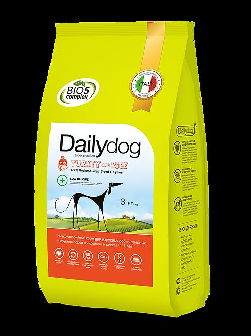 ADULT DOG  низкокалорийный корм для средниих  крупных пород , с индейкой и рисом