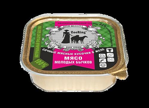 КОНСЕРВИРОВАННЫЙ ПОЛНОРАЦИОННЫЙ КОРМ (КУСОЧКИ В ЖЕЛЕ) - Мясо молодых бычков