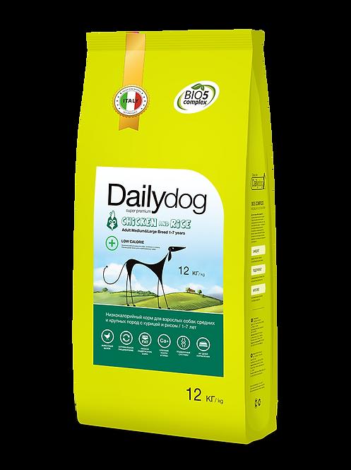 ADULT DOG| низкокалорийный корм для средних и крупных пород , с курицей и рисом