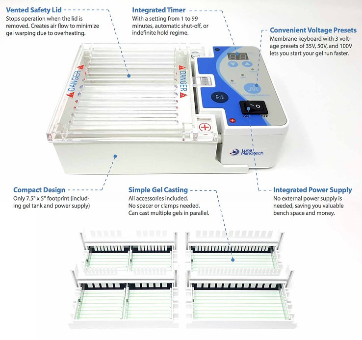 Compact micro agarose gel electrophoresis box system