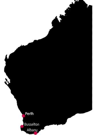 Map of WA featuring Perth, Albany and Busselton