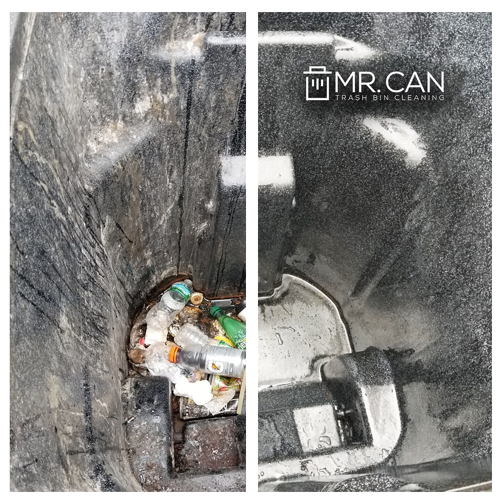 Before and After picture of a Trash can cleaned by Mr. Can Cleaning