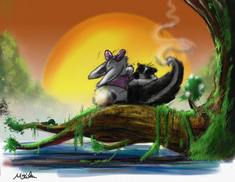 Mark W Art_CB-skunk and rabbit on log.jp