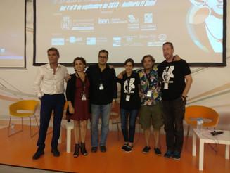 Pere Cervantes, Alfonso Díaz y Ana Belén Hernando, ganadores de los premios de Cartagena Negra.