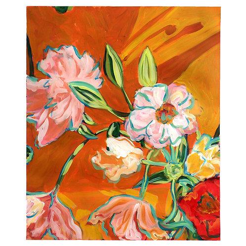 Flowers with Orange Background