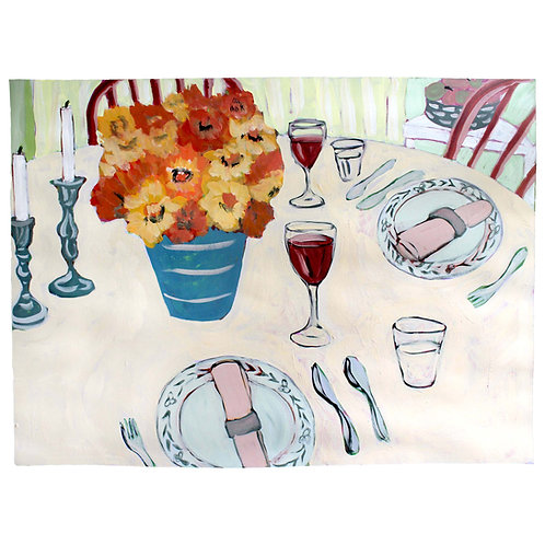 Plain Table with Flowers