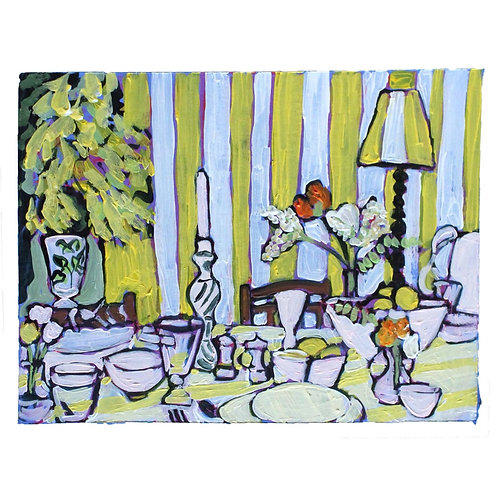 Yellow Striped Dining Room