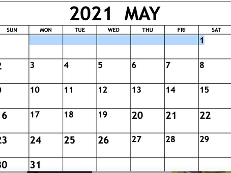 MAKE YOUR MAY CALENDAR NOW