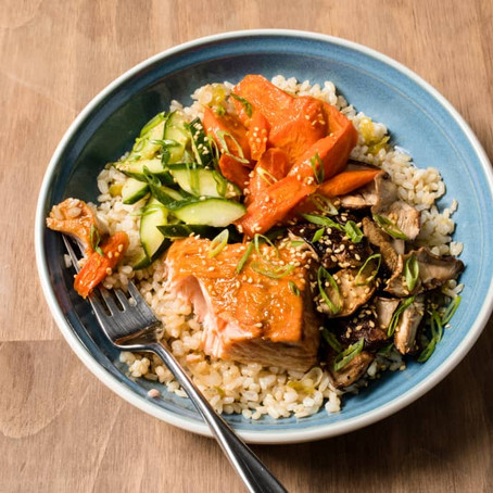 Inspired and Satisfied . . . Delicious                     Salmon Grain Bowl