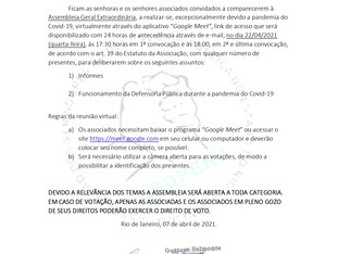 Convocação para Assembleia Geral Extraordinária - 22/04/2021