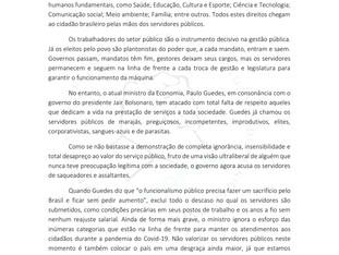 NOTA DE REPÚDIO AO MINISTRO PAULO GUEDES