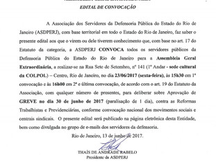 Assembleia dia 23/06: adesão à Greve Geral de 30/06/17.