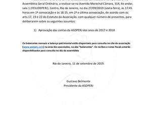 CONVOCAÇÃO PARA ASSEMBLÉIA GERAL ORDINÁRIA E EXTRAORDINÁRIA - Dia 27/09/2019