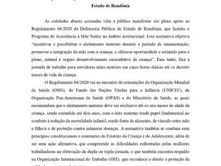 Nota de Apoio ao Programa de Assistência à Mãe Nutriz da Defensoria Pública do Estado de Rondônia