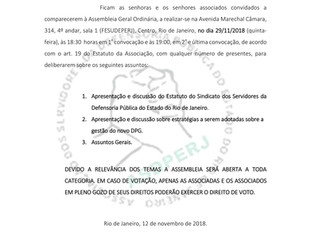 ASSEMBLEIA GERAL ORDINÁRIA DIA 29/11/18