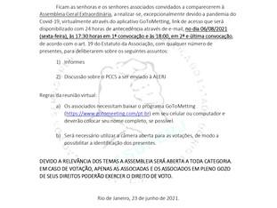 CONVOCAÇÃO ASSEMBLEIA GERAL EXTRAORDINÁRIA DIA 06/08/2021