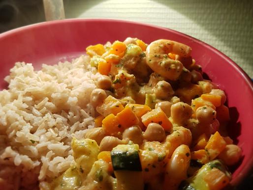 Curry de crevettes aux petits légumes