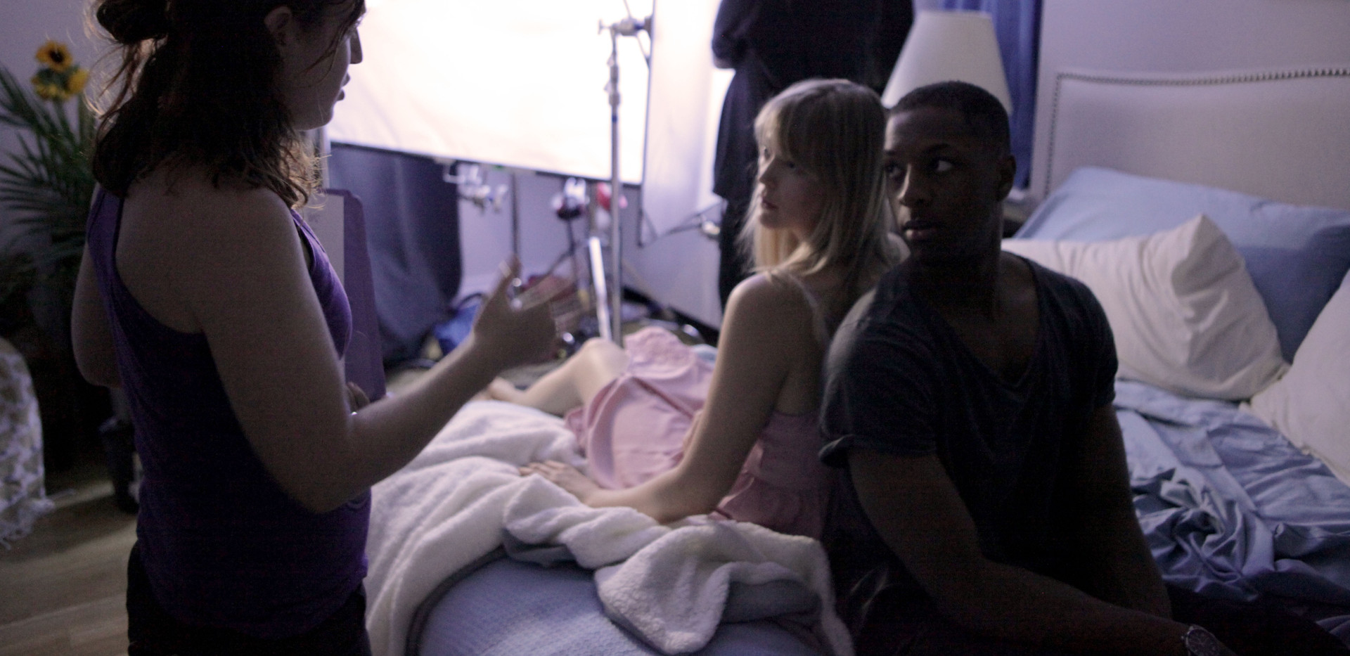 Directing actors Doron Jepaul Mitchell & Mia Jessup on the set of Baggage