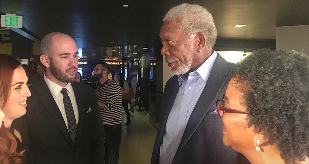With Morgan Freeman at the Landing Up World Premiere