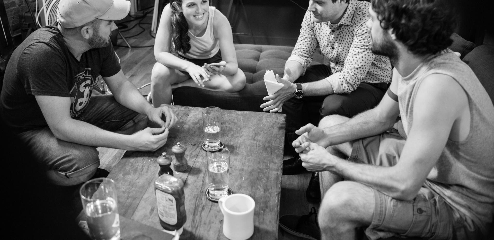 With Dani Tenenbaum, Ben Rappaport, and Jay DeYonker on the set of Landing Up