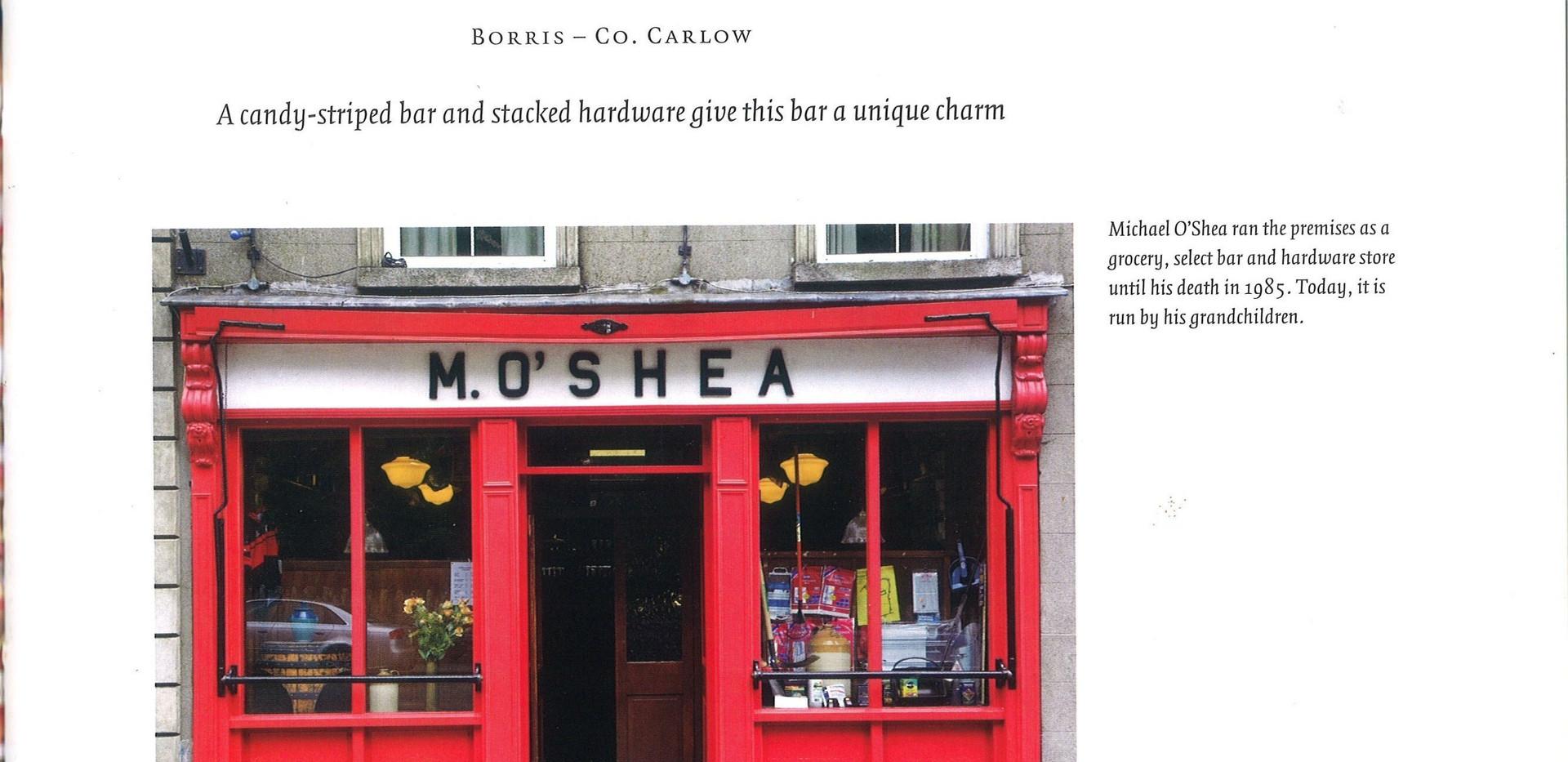 "O'Shea's Bar, Borris, Co. Carlow featured in the book; ""The Irish Pub"", Thames & Hudson, James Fennell & Turtle Bunbury"