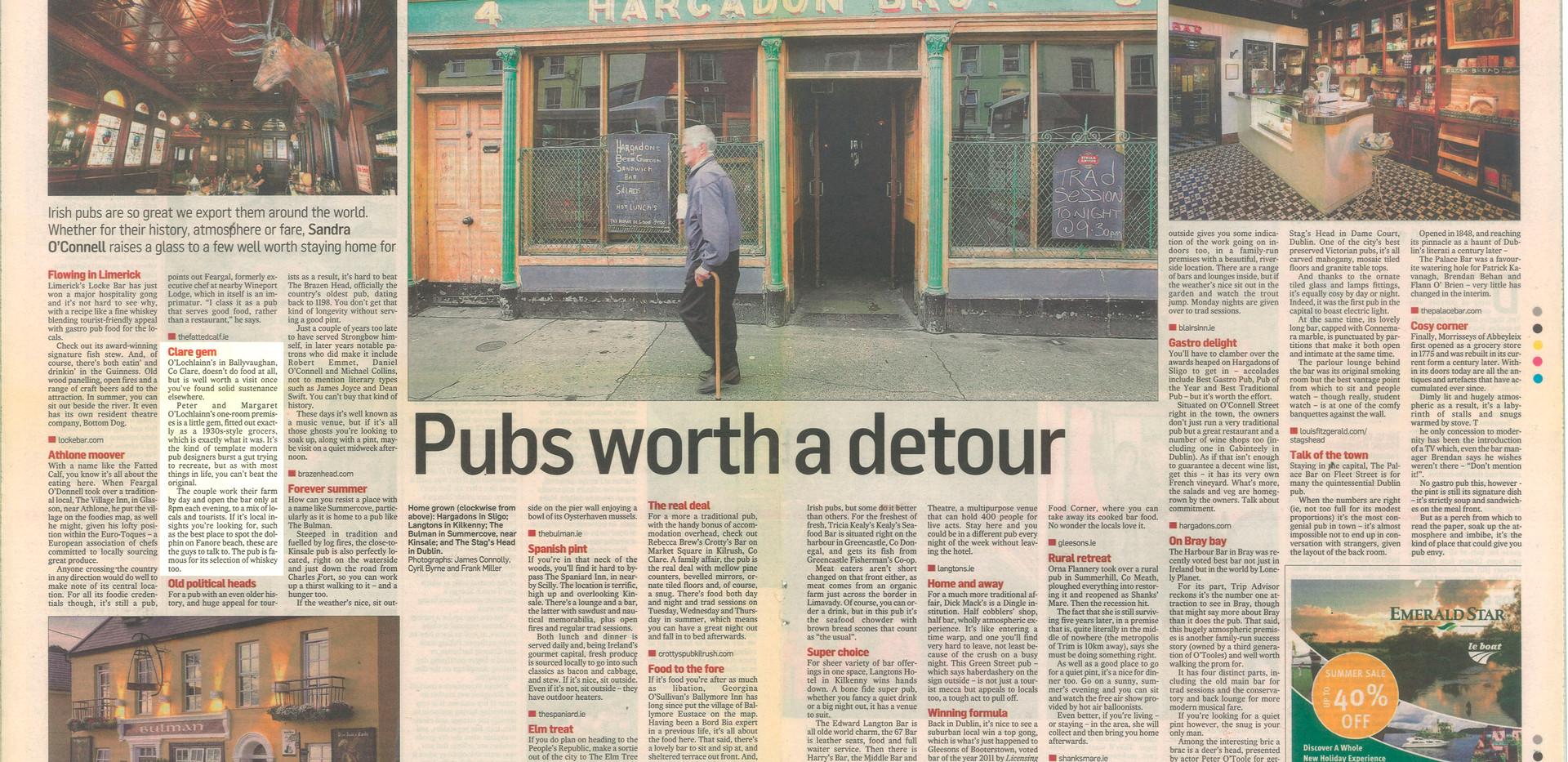 "The Irish Times, ""Pubs worth a detour"""