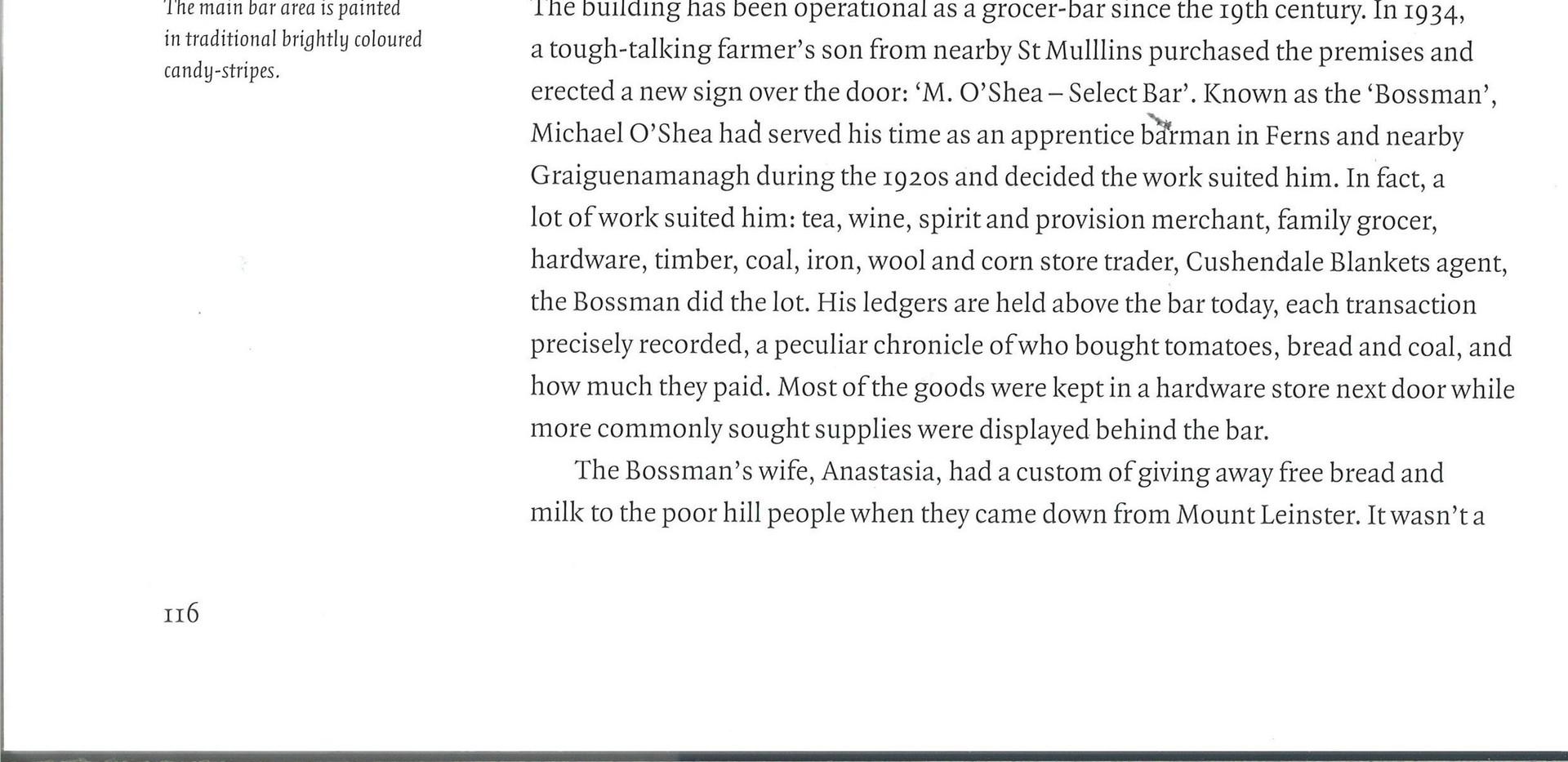 "O'Shea's Bar, Borris, Co. Carlow, fratured in ""The Irish Pub"", Thames & Hudson, James Fennell & Turtle Bunbury"
