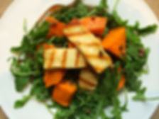 Grilled halloumi, butternut squash and lentil salad with a soy tamari and balsamic dressing