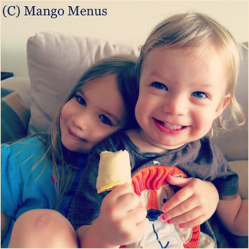 Tropical Popsicles made from coconut milk, mango & banana. Refined sugar free, dairy free and gf