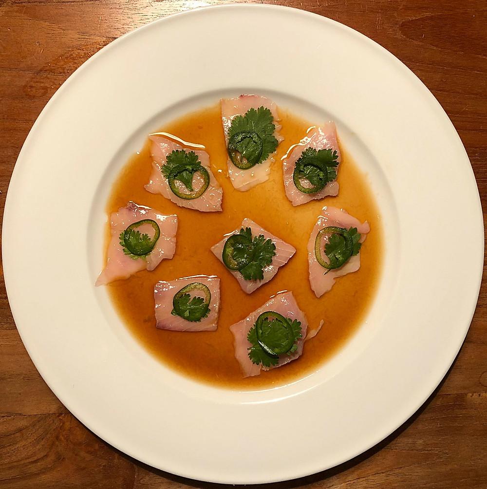 Nobu yellowtail sashimi with jalapeno and coriander