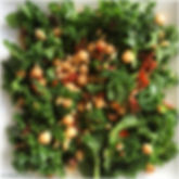 Kale, bacon, chickpea and pine nut salad