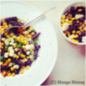 Blackbean Rotini from Spicebox Organics with Sweetcorn and Feta in a Honey dressing. Gluten-free GF