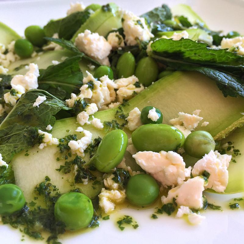 Courgette, Feta, Mint, Edamame & Pea Salad in a Lemon Herb Dressing