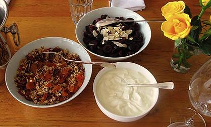 Mango Menus 12 hour brunch cherry compote and cheat's granola