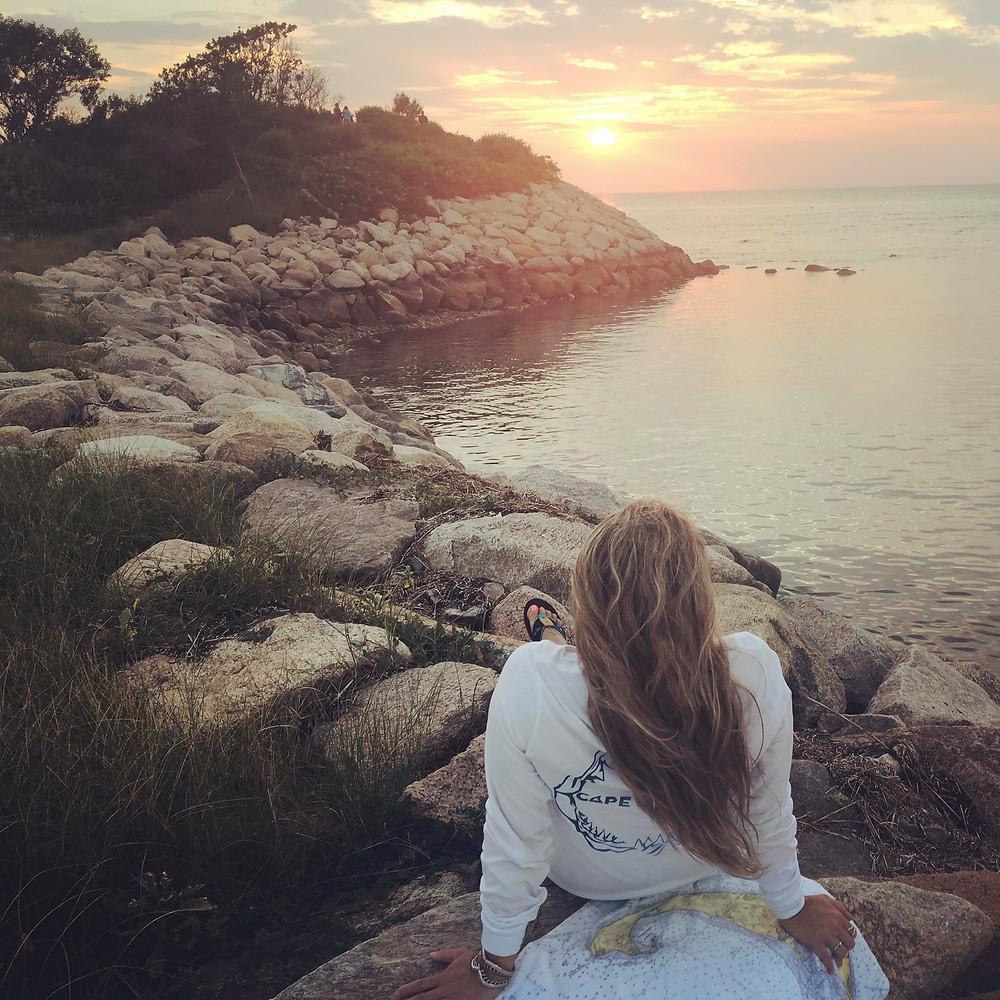 "Sunset at Falmouth's Hidden Gem: ""The Knob"""