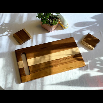 Walnut & Maple Charcuterie Board with matching coasters