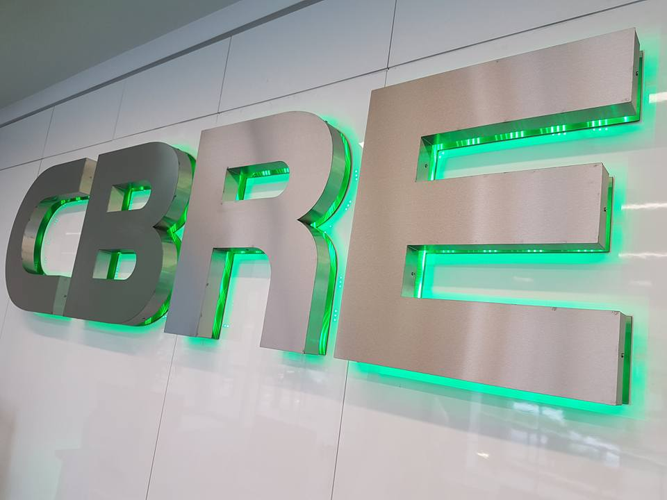 3d built up lettering for CBRE