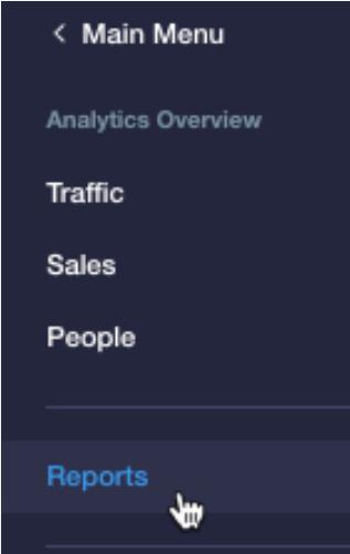 wix dashboard report menu