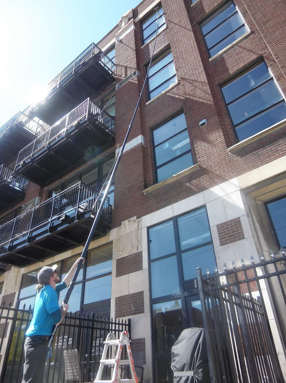 Cleaning 4th Story Windows at Willy's Overland Lofts in Midtown