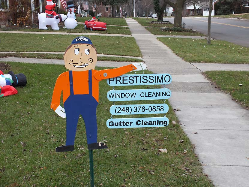 Prestissimo Window cartoon lawn sign