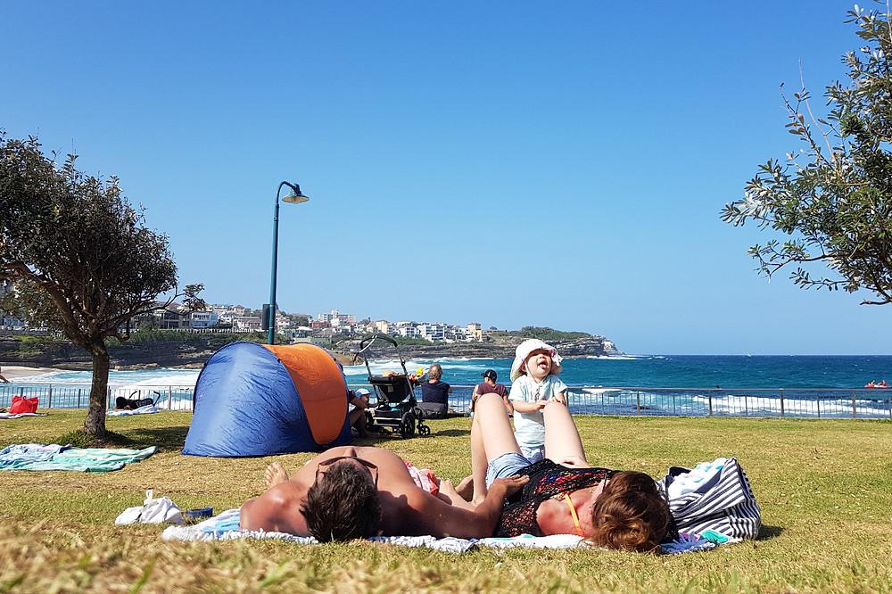 Beach nap family ocean