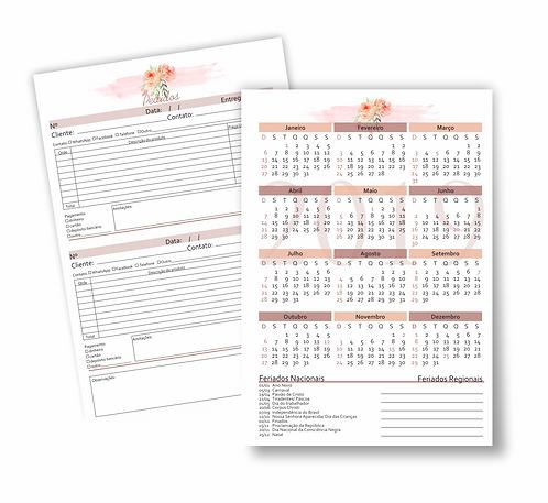 Insert Pedidos Floral com calendário 2019, 2020 e 2021