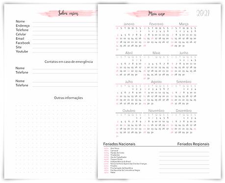 Calendário 2021 Agendamento permanente Manicure Rosa